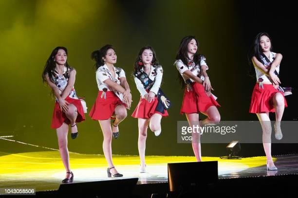 Singers Joy Yeri Irene Seulgi and Wendy of South Korean girl group Red Velvet perform on the stage in concert on September 22 2018 in Taipei Taiwan...