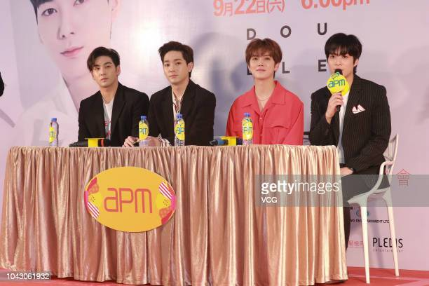 Singers JR Baekho Minhyun and Ren of South Korean boy band NU'EST W attend a press conference ahead of their concert at apm on September 22 2018 in...