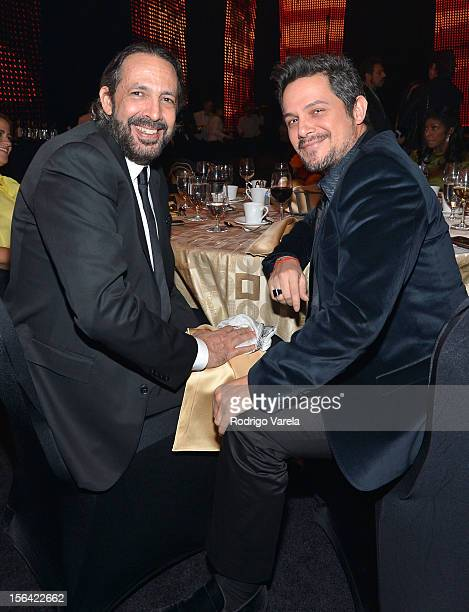 Singers Juan Luis Guerra and Alejandro Sanz during the 2012 Person of the Year honoring Caetano Veloso at the MGM Grand Garden Arena on November 14...