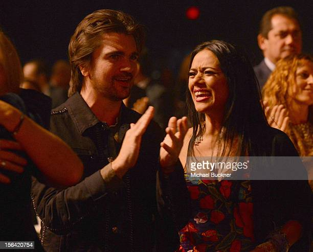 Singers Juanes and Lila Downs during the 2012 Person of the Year honoring Caetano Veloso at the MGM Grand Garden Arena on November 14 2012 in Las...