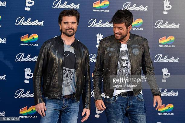 Singers Juanes and Pablo Lopez attend the 40 Principales Awards 2015 photocall at the Barclaycard Center on December 11 2015 in Madrid Spain