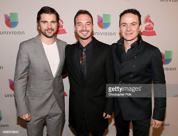 Singers Juanes, J Balvin and Fonseca attend the 15th Annual Latin GRAMMY Awards at the MGM Grand Garden Arena on November 20, 2014 in Las Vegas,...