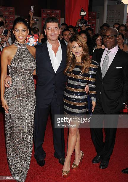 Singers Judges Nicole Scherzinger Simon Cowell Paula Abdul and Antonio LA Reid attend The X Factor World Premiere Screening at ArcLight Cinemas on...