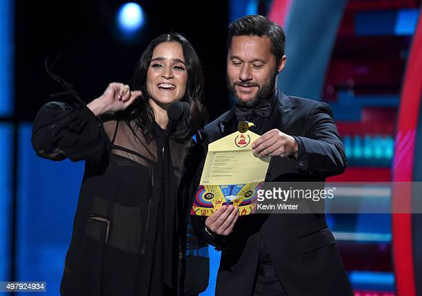 Singers Julieta Venegas and Diego Torres speak onstage during the 16th Latin GRAMMY Awards at the MGM Grand Garden Arena on November 19 2015 in Las...
