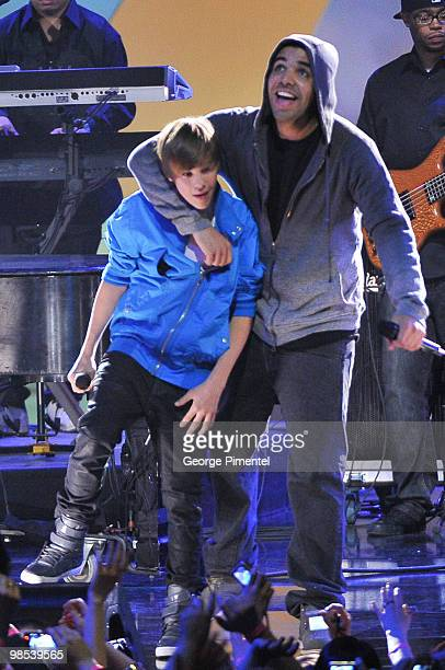 Singers Justin Bieber and Drake perform during the 2010 Juno Awards at the Mile One Centre on April 18 2010 in Saint John's Canada