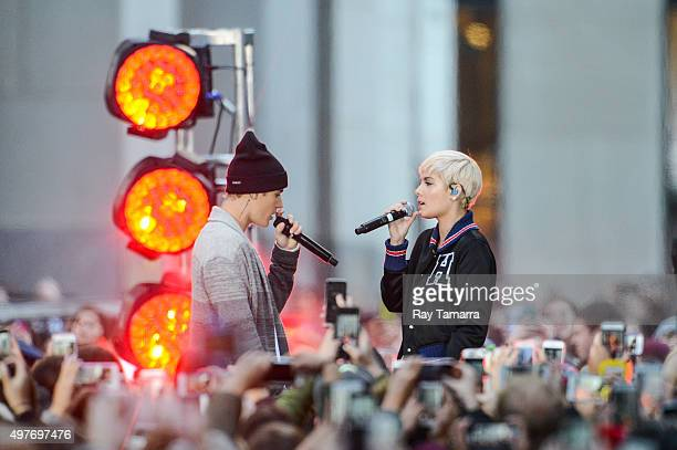 Singers Justin Bieber and Halsey perform at the 'Today Show' taping at the NBC Rockefeller Center Studios on November 18 2015 in New York City