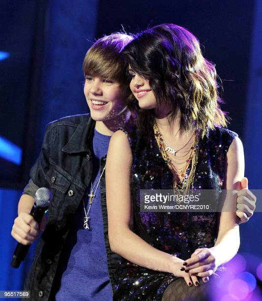 Singers Justin Bieber and Selena Gomez perform during Dick Clark's New Year's Rockin' Eve With Ryan Seacrest 2010 at Aria Resort Casino at the City...