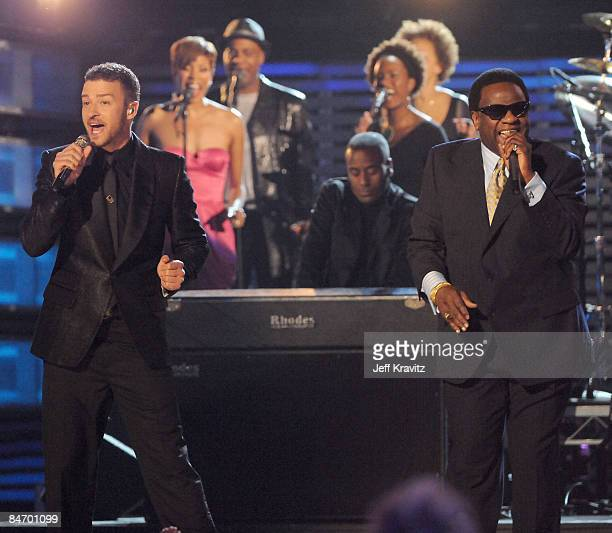 Singers Justin Timberlake and Al Green perform onstage at the 51st Annual GRAMMY Awards held at the Staples Center on February 8, 2009 in Los...
