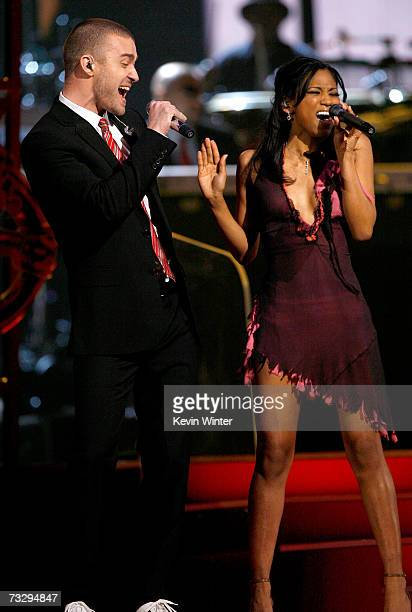 Singers Justin Timberlake and My GRAMMY Moment winner Robyn Troup perform onstage at the 49th Annual Grammy Awards at the Staples Center on February...