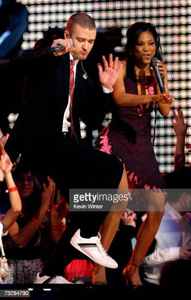 Singers Justin TimberlakeMy GRAMMY Moment winner Robyn Troup and rapper TI perform onstage at the 49th Annual Grammy Awards at the Staples Center on...