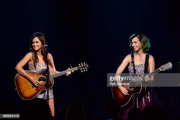 Singers Kacey Musgraves and Katy Perry perform onstage during CMT Crossroads Katy Perry And Kacey Musgraves at Sony Pictures Studios on April 18 2014...
