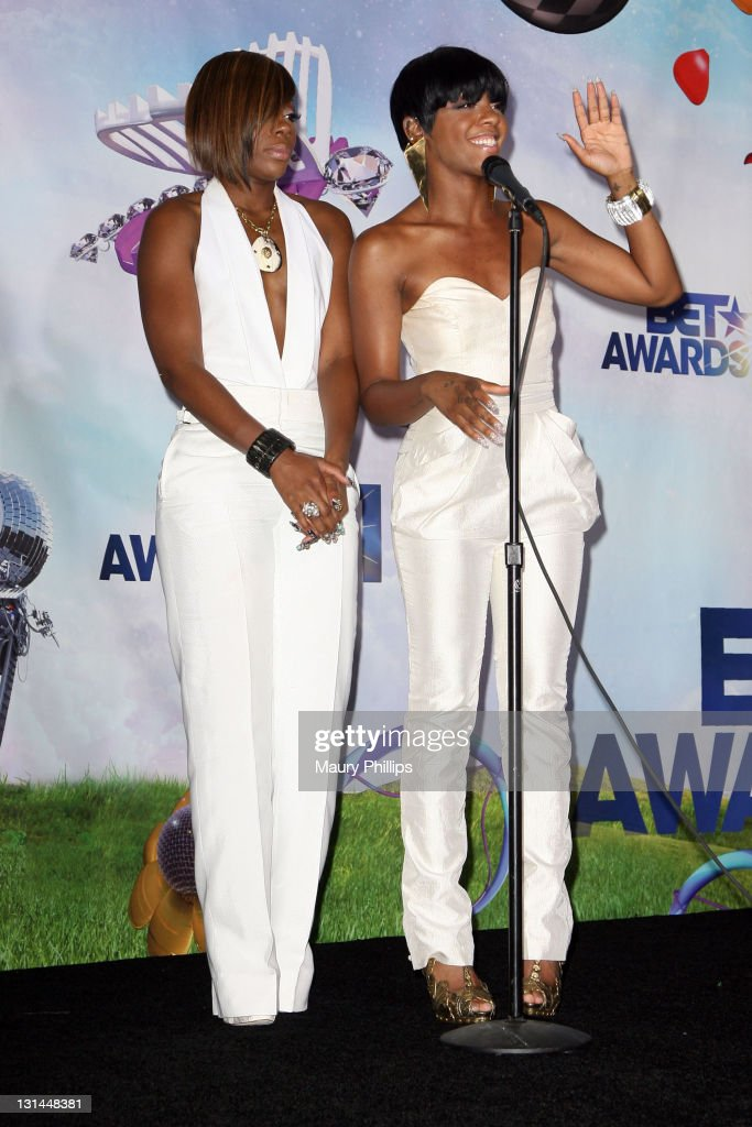 Singers Kalenna Harper (L) and Dawn Richard of the group Diddy Dirty Money pose in the press room at the BET Awards '11 held at The Shrine Auditorium on June 26, 2011 in Los Angeles, California.