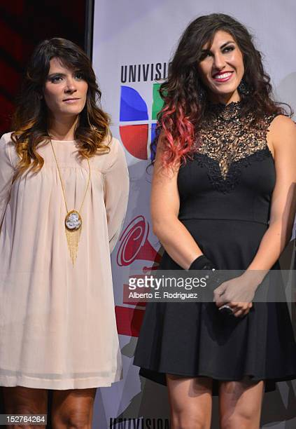 Singers Kany Garcia and Ana Victoria attend the XIII Annual Latin GRAMMY Awards Nominations Announcement held at Belasco Theatre on September 25 2012...