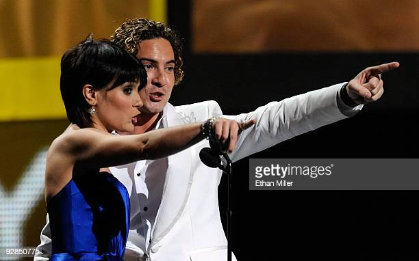 Singers Kany Garcia and David Bisbal present the Best New Artist award onstage during the 10th annual Latin GRAMMY Awards held at Mandalay Bay Events...