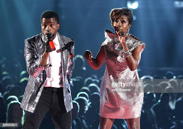 Singers Kanye West and Estelle onstage at the 51st Annual GRAMMY Awards held at the Staples Center on February 8, 2009 in Los Angeles, California.