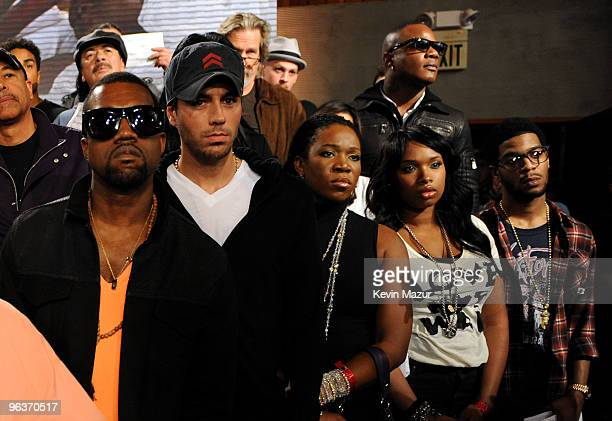 HOLLYWOOD FEBRUARY 01 Singers Kanye West Enrique Iglesias IndiaArie Jennifer Hudson Kid Cudi at the We Are The World 25 Years for Haiti recording...