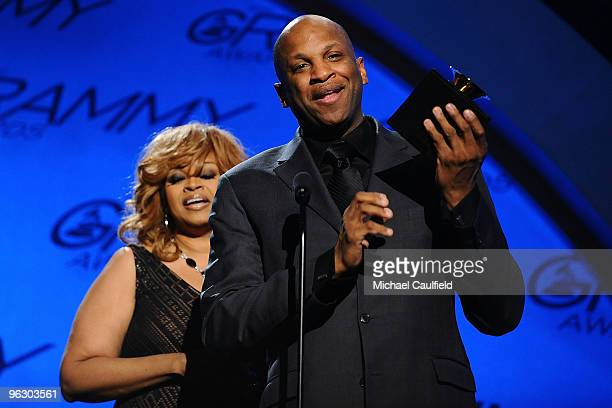Singers Karen Clark Sheard and Donnie McClurkin accept the Best Gospel Performance award onstage in the 52nd Annual GRAMMY Awards pretelecast held at...