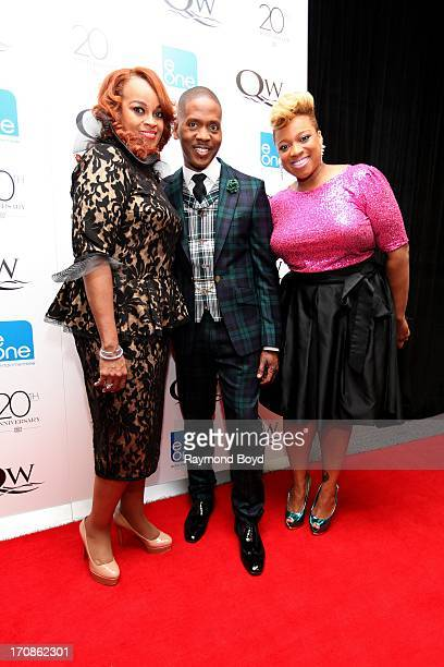 Singers Karen ClarkSheard Donald Lawrence and Kierra Sheard poses for photos during red carpet for gospel superstar Donald Lawrence's 20 Year...