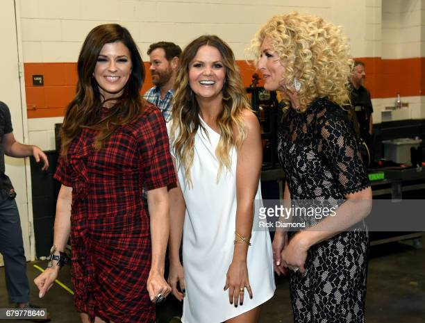 Singers Karen Fairchild and Kimberly Schlapman of Little Big Town and radio personality Amy of The Bobby Bones Show attend the 2017 iHeartCountry...