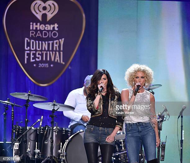 Singers Karen Fairchild and Kimberly Schlapman of Little Big Town perform onstage during the 2015 iHeartRadio Country Festival at The Frank Erwin...