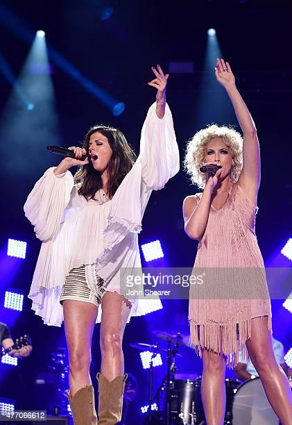 Singers Karen Fairchild and Kimberly Schlapman of Little Big Town perform onstage during the 2015 CMA Festival on June 13, 2015 in Nashville,...