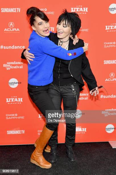 Singers Kathleen Hanna and Joan Jett attend the 'Bad Reputation' Premiere during the 2018 Sundance Film Festival at The Marc Theatre on January 22...