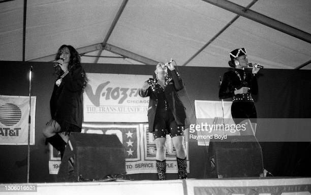 Singers Kathy Merrick, Lisa Frazier and Vivian Ross of Lace performs on an army base during the V-103 FM Chicago USO Trans-Atlantic Jam in Vilseck,...