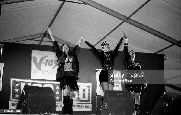 """Singers Kathy Merrick, Vivian Ross and Lisa Frazier of Lace """"nperforms on an army base during the V-103 FM Chicago USO Trans-Atlantic Jam in Vilseck,..."""