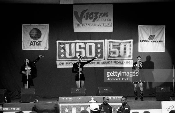 Singers Kathy Merrick, Vivian Ross and Lisa Frazier of Lace performs on an army base during the V-103 FM Chicago USO Trans-Atlantic Jam in Stuttgart,...