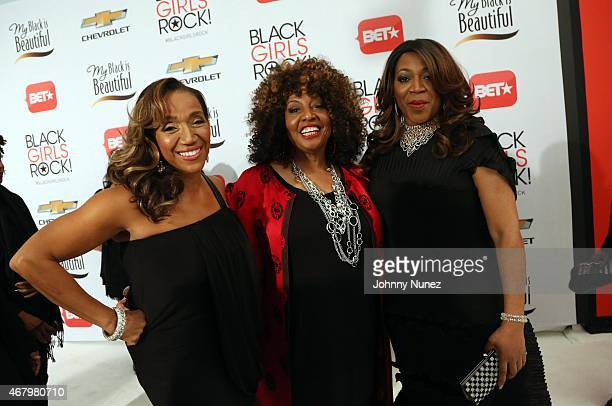 Singers Kathy Sledge Cheryl Lynn and Alicia Myers attend Black Girls Rock 2015 at NJ Performing Arts Center on March 28 in Newark New Jersey