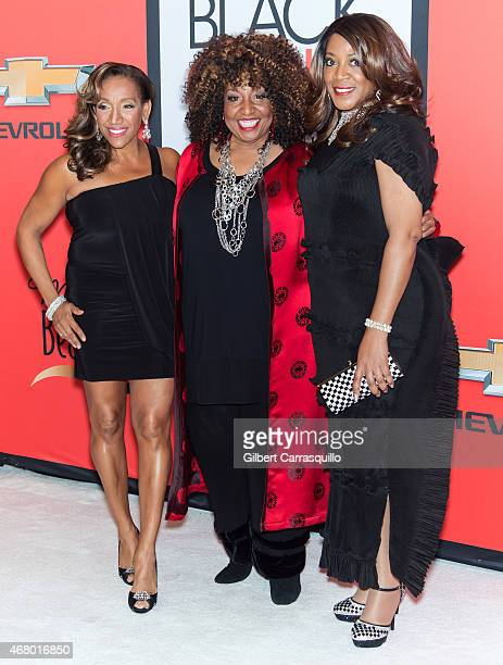 Singers Kathy Sledge Cheryl Lynn and Alicia Myers attend the BET's 'Black Girls Rock' Red Carpet at NJ Performing Arts Center on March 28 2015 in...