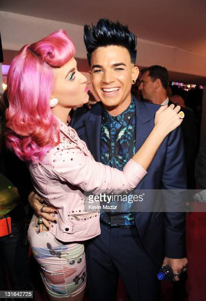 Singers Katy Perry and Adam Lambert attend the MTV Europe Music Awards 2011 at the Odyssey Arena on November 6 2011 in Belfast Northern Ireland