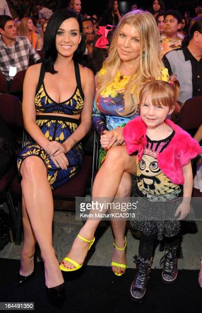 Singers Katy Perry and Fergie attend Nickelodeon's 26th Annual Kids' Choice Awards at USC Galen Center on March 23 2013 in Los Angeles California