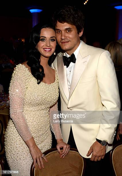 Singers Katy Perry and John Mayer attend the 55th Annual GRAMMY Awards PreGRAMMY Gala and Salute to Industry Icons honoring LA Reid held at The...