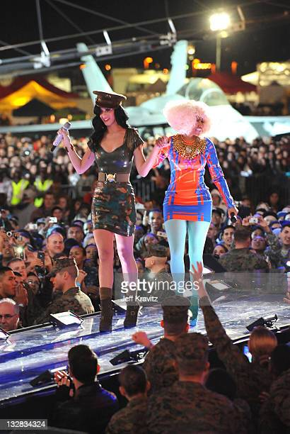 Singers Katy Perry and Nicki Minaj perform onstage during 'VH1 Divas Salute the Troops' presented by the USO at the MCAS Miramar on December 3 2010...