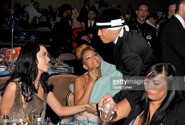 Singers Katy Perry Rihanna and Taboo during the 52nd Annual GRAMMY Awards Salute To Icons Honoring Doug Morris held at The Beverly Hilton Hotel on...