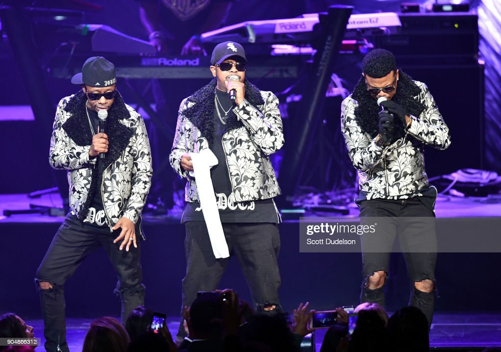 Singers K-Ci, JoJo and Dalvin DeGrate of the R&B group Jodeci perform onstage at Microsoft Theater on January 13, 2018 in Los Angeles, California.