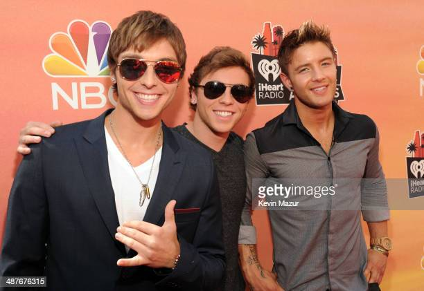 Singers Keaton Stromberg Wesley Stromberg and Drew Chadwick of Emblem3 attend the 2014 iHeartRadio Music Awards held at The Shrine Auditorium on May...