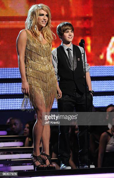 Singers Ke$ha and Justin Bieber perform onstage during the 52nd Annual GRAMMY Awards held at Staples Center on January 31 2010 in Los Angeles...
