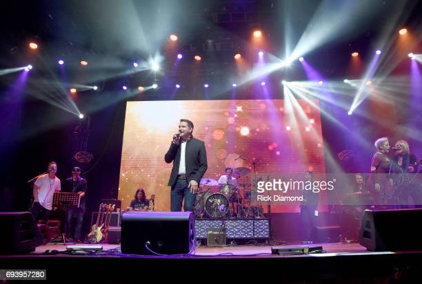 Singers Keifer Thompson Ty Herndon and Shawna Thompson perform onstage during the 2017 Concert for Love Acceptance on June 8 2017 in Nashville...