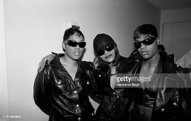 Singers Keisha, Kima and Pam from Total poses for photos backstage at the South Shore Country Club in Chicago, Illinois in February 1996.