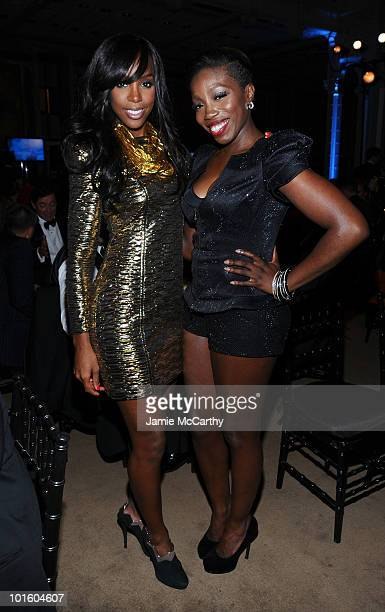 Singers Kelly Rowland and Estelle attend the 2010 amfAR New York Inspiration Gala at The New York Public Library on June 3 2010 in New York New York