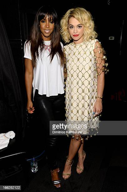 Singers Kelly Rowland and Rita Ora attend the 4th Annual ELLE Women in Music Celebration at The Edison Ballroom on April 10 2013 in New York City
