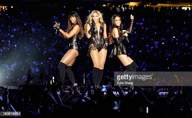Singers Kelly Rowland, Beyonce and Michelle Williams perform during the Pepsi Super Bowl XLVII Halftime Show at the Mercedes-Benz Superdome on...