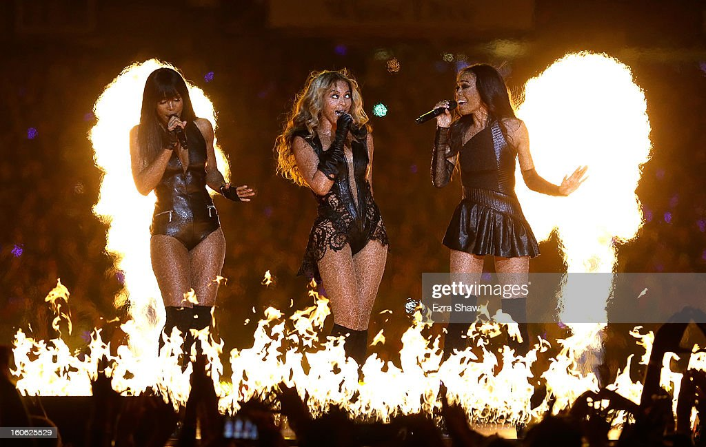 Singers Kelly Rowland, Beyonce and Michelle Williams perform during the Pepsi Super Bowl XLVII Halftime Show at the Mercedes-Benz Superdome on February 3, 2013 in New Orleans, Louisiana.