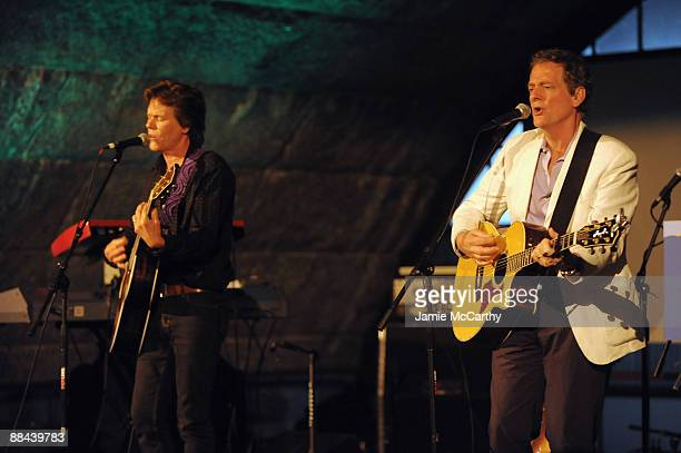 Singers Kevin Bacon and Michael Bacon perform on stage at the 8th Annual Jed Foundation Gala at Guastavino's on June 11 2009 in New York City