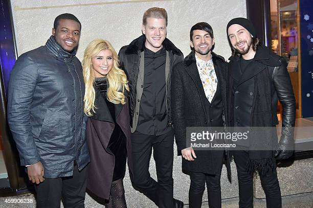 Singers Kevin Olusola Kirstie Maldonado Scott Hoying Mitch Grassi and Avi Kaplan of Pentatonix attend the 82nd annual Rockefeller Christmas Tree...