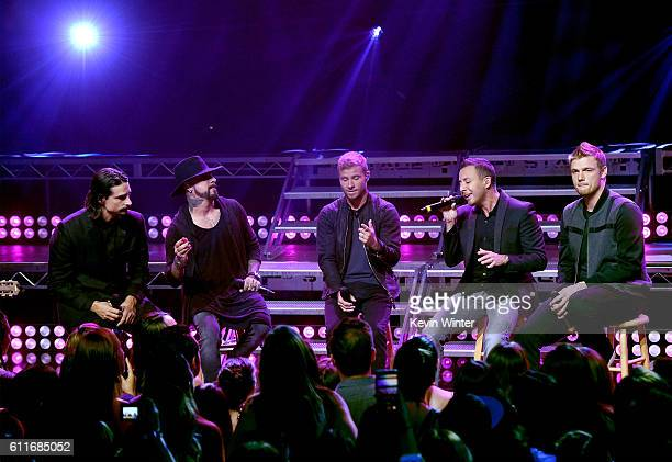 Singers Kevin Richardson A J McLean Brian Littrell Howie Dorough and Nick Carter of Backstreet Boys perform live on the Honda Stage at the...
