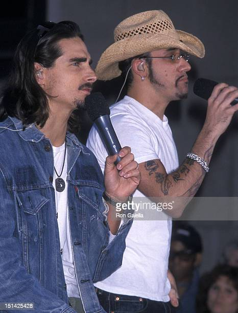 Singers Kevin Richardson and AJ McLean of the Backstreet Boys perform at 'The Today Show' Summer Concert Series on July 2 2001 at Rockefeller Center...