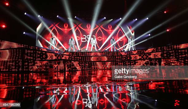 Singers Kevin Richardson Brian Littrell AJ McLean Howie Dorough and Nick Carter of the Backstreet Boys perform at The Axis at Planet Hollywood Resort...
